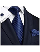 "Landisun Solids Mens Silk Tie Set: Necktie+Hanky+Cufflinks 206 Navy Blue, 3.25""Wx59""L"