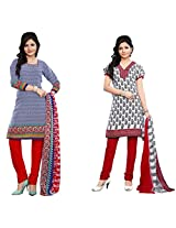 Kanheyas Pack of 2 Cotton Dress Materials With Chiffon Dupatta-Combo 2