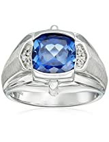 Men's Sterling Silver Created Blue Sapphire and Created White Sapphire Gents Ring, Size 10.5
