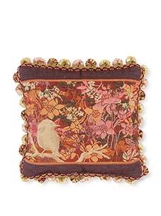 "Corona Decor Co. Garden Bird Collection 10"" Pillow, Plum/Rose/Orange/Beige"