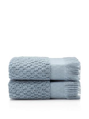 Pure Fiber Set of 2 Hottuck Hand Towels (Blue)