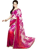 Pagli Shaded Pink With White Printed Georgette Saree With Stones And Border