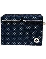 UberLyfe Foldable Kids Storage Box Organizer- Double Flap - Large (Blue Dotted)