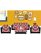 WSB Floral 11 Piece Cotton Sofa Cover Set - Red 65x57 CM