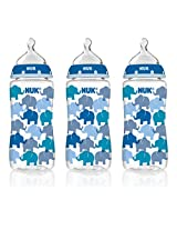 NUK 62736 Hearts and Elephants Baby Bottle with Perfect Fit Nipple, 10 Ounces, 3 Pack, Assorted Colors