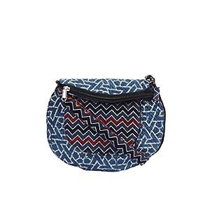EthnicShack Blue and Zigzag Ajrakh Printed Cross Body Bag