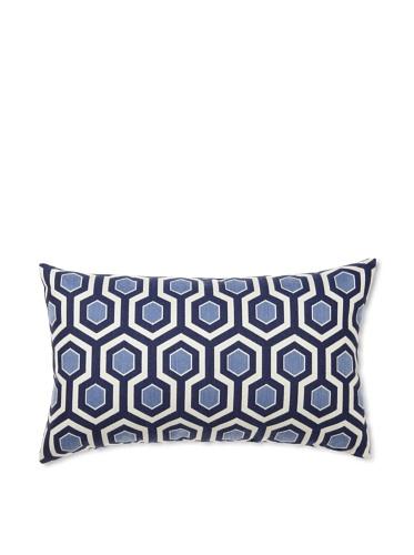 Elsa Blue Navy Coin Knife Edge Indoor/Outdoor Pillow, 12