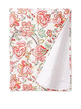 North Rodeo Collection Floral Block Hand Stitched Throw, White/Multi