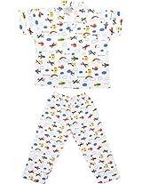 Little Stars Boys' Top and Pyjama Set (Nightsuit_Rainbow_3-4 years, White, 3-4 years)
