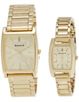 Sonata Analog Champagne Dial Pair Watch - NF70088014YM02