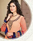 Orange Georgette, Net Anarkali Suit - SUAMB1215