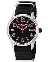 Stuhrling Original Men's 406A.331OB75 Leisure Eagle Nighthawk Swiss Quartz Date Black Canvas Strap Watch