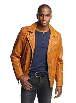 Denim & Leathers by andrew Marc Men's Vintage Leather Moto Jacket (Clay)