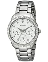 Bulova Diamond Analog White Dial Women's Watch - 96R195