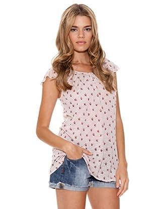 Peace & Love Camiseta Flores (rosa palo)