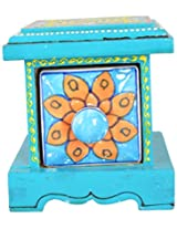 ShilpCraft Ceramic & Wooden Storage Chest (Blue)