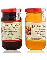 Preserves Naturally Tomato Chutney and Litchi Honey (240 g x 2) (Pack of 2)