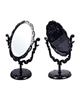 Black Butterfly Desktop Mirror Rotatable Gothic Small Size Rose Makeup Stand