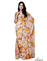 Chiffon Printed Saree In White and Yellow Colour