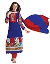 Vibes Womens Georgette Patch Work Straight Unstitched Dress Material (V205-4 _Blue)
