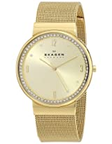 Skagen Ancher Analog Gold Dial Women's Watch - SKW2129