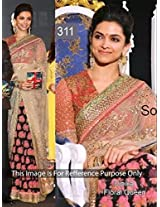 Deepika Padukone Georgette Embroidered Pink Bollywood Style Saree - GET341