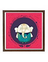 CIRCLE ELEPHANT RED FRAMED ART 20*20 INCH