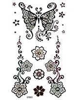 Spestyle New And Fashion Design Indian Trial Flower And Butterfly Fake Temp Tattoo Stickers