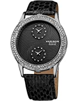 Akribos XXIV Women's AK569BK Lady Diamond Dual Time Leather Strap Watch