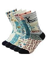 J'colour Little Boys' Girls' Colorful Print No Show Super Soft Cotton Fit Travel Ankle Socks 5-Pack