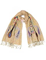 Yellow color embroidered woolen stole