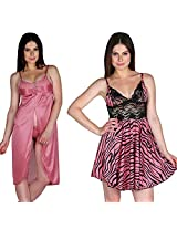 Secret Wish Women's Satin Babydoll Dress Set of 2 (Multi, Free Size)