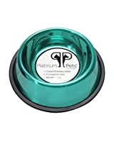 Platinum Pets Non-tip Stainless Steel Dog Bowl, 16 oz, Teal