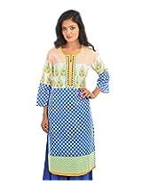 Fashiana Womens Cotton Self Print Straight Kurta (Fkrt028 _Blue And Yellow _42)