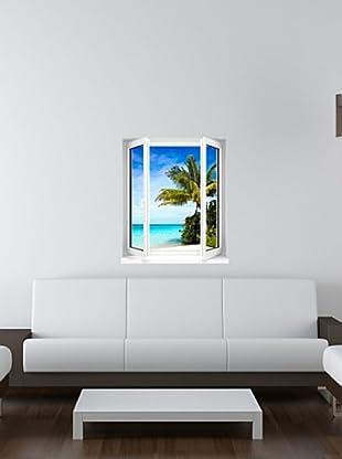 Vinilo Adhesivo paisaje playa y cocoteros Multicolores