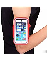 Red Sports Gym Jogging Running Armband Arm Holder Case Cover For Samsung Note 2 & 3, Iphone 6, 6S, HTC,Sony, Intex, LG, Microsoft And All Compatible with Cellphones 5.7 Inch