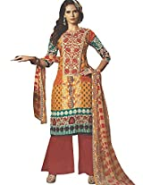 Cotton Printed Embroidery Unstitched Suit