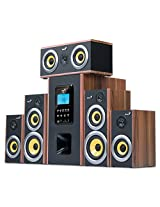 Genius Six-Piece Wooden Home Theater Speaker with MP3 Decoder (SW-HF5.1 5200)