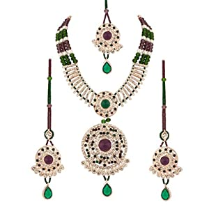 Voylla Rhodium Plated Cz Embellished Maang Tikka Set With Green & Lavender Coloured Beads