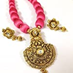 Rose pink and gold bead necklace with golden pendant and earrings