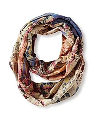 Saachi Women's Floral Plaid Infinity Scarf, Denim Multi