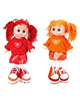 Tickles Red,Blue Smiling Face Girl Doll Stuffed Soft Plush Toy Love Girl 30 cm