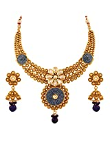 Antique Royal Pink Checker Kundan Necklace and Jhumki Earrings