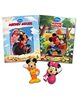 Fisher Price Disney Bath Toys And Bedtime Books Set 4 Pieces (Mickey Mouse Bath Toy, Minnie Mouse Bath Toy, 2 Classic Disney Storybooks)