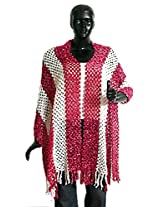 DollsofIndia Rose Pink and White Fancy Silk Thread Stole - Silk Thread - Magenta, White