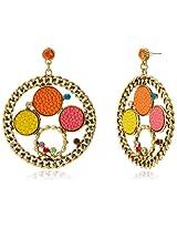 Tribal Zone Drop Earrings for Women (Golden) (TZOFAT0039)