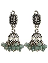 Haat4Art Traditional Silver Green Beads Jhumkis for Women
