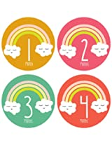 Lucy Darling Shop Monthly Bodysuit Baby Sticker Baby Girl Rainbow Months 1 12