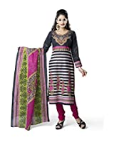 Rajnandini Women's Black & Maroon colour pure cotton Printed Unstitched salwar suit Dress Material (Free Size)
