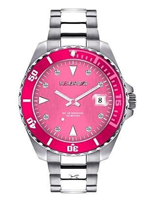 K&BROS 9175-1 / Reloj de Señora  con brazalete metálico dial fucsia